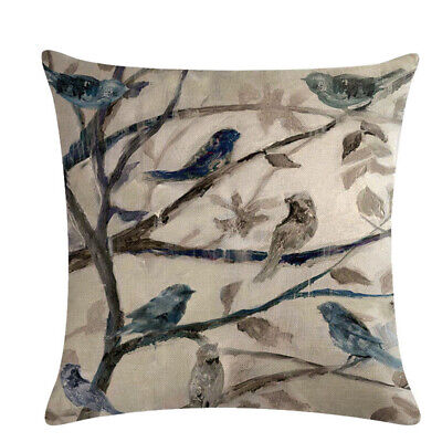 Small Throw Pillow (Flower and Bird Pattern Cushion Cover Throw Sofa Pillow Covers Family Decor)