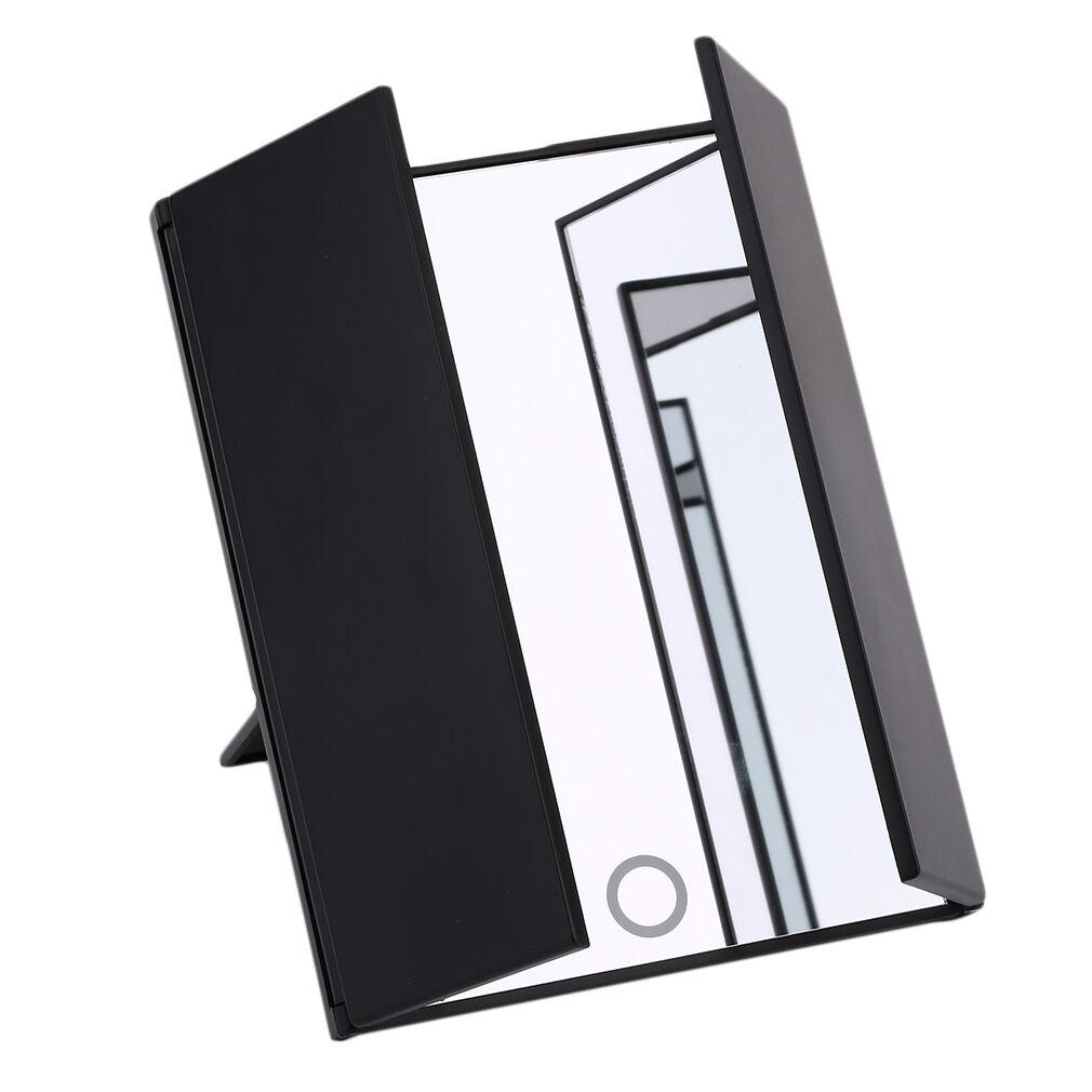 makeup trisided foldable square shape portable lighted led beauty vanity mirror ebay. Black Bedroom Furniture Sets. Home Design Ideas