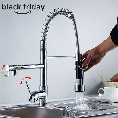 Chrome Kitchen Move freely Spout Single Handle Sink Faucet Pull Down Spray Mixer Tap