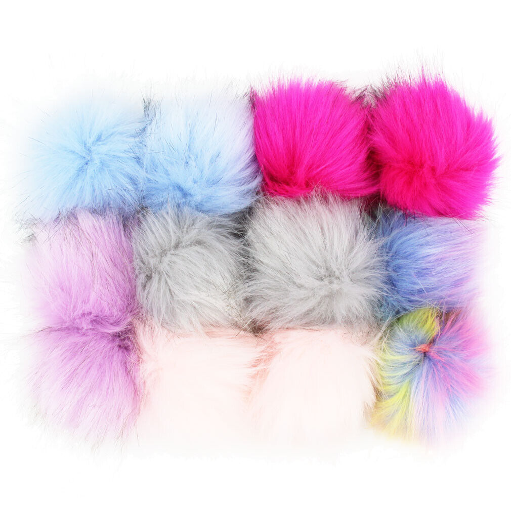 Wholesale 12X Faux Raccoon Fur 14CM//5.5inch Pompom Ball for Beanie Hats Knitting