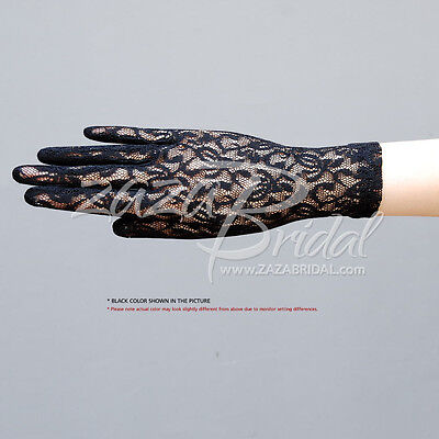 Fabulous Stretch Flower Pattern Lace Gloves Wrist Length 2BL