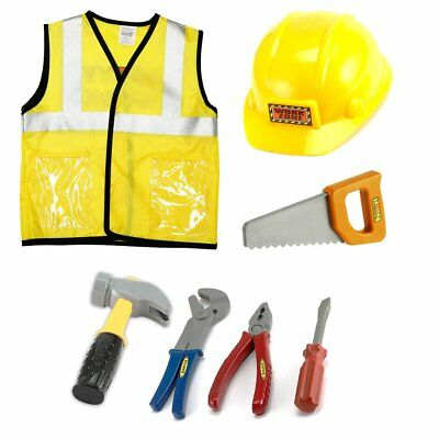 Construction Worker Costume For Kids (OUTAD Construction Worker Role Play Costume Dress-Up Set for 90-130cm)