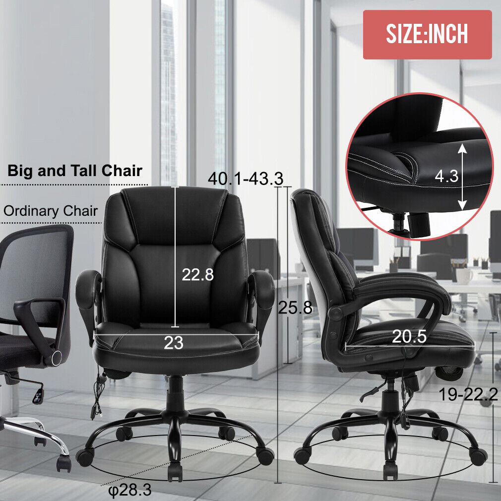 Big and Tall Office Chair 400lbs Wide Seat Ergonomic Desk Chair Massage Computer Business & Industrial