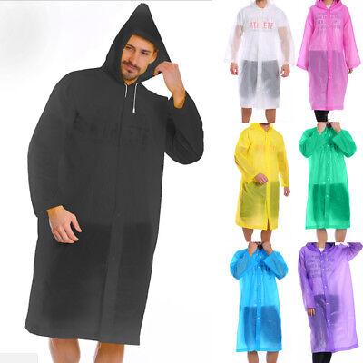 Men Women Waterproof Jacket PE Hooded Raincoat Rain Coat Poncho Rainwear US #G