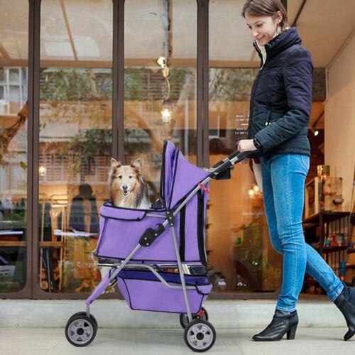 New Purple Pet Stroller Cat Dog Cage 3 Wheels Stroller Travel Folding Carrier