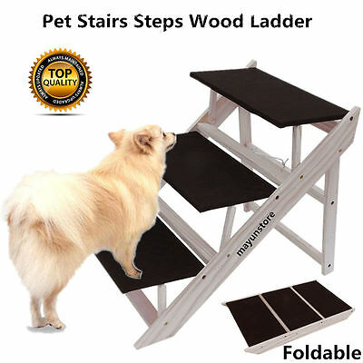 Folding Dog Stairs Puppy Cat Pet Steps Portable Tall High Bed Car Ladder Ramp BP