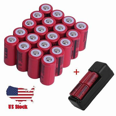 20Pcs 16340 Cr123a 3 7V 2300Mah Rechargeable Lithium Li Ion Battery W  Charge