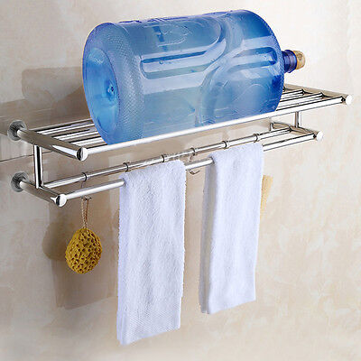 شماعة حمام جديد Stainless Double Towel Rack Wall Mount Bathroom Shelf Bar Rail Hotel Style US VP