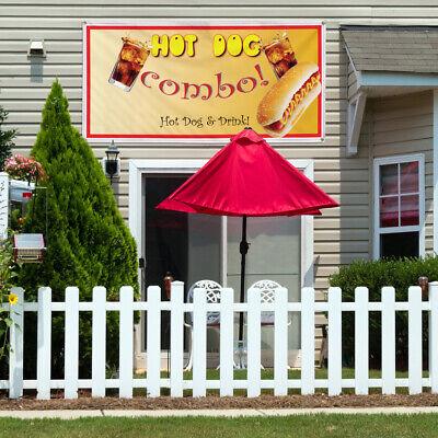 Vinyl Banner Sign Hot Dog Combo Restaurant Cafe Bar Style U Hotdog Brown