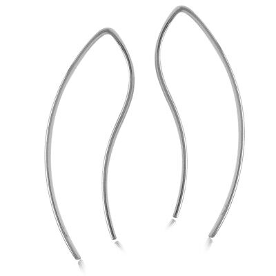 925 Silver Curved Wire Earrings (Minimalist Gold Plated 925 Sterling Silver Curve/Curvy Skinny Wire Earrings )