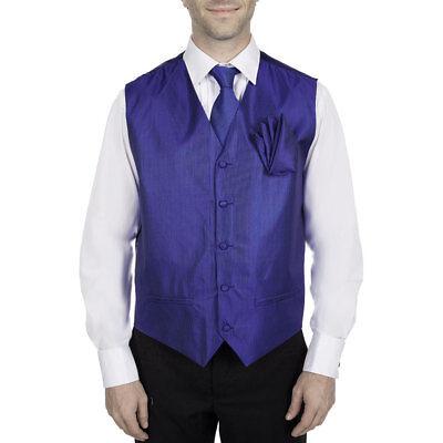 Tone Vest Tie Set (Men's Vest Tie Hanky Set Solid Tone on Tone Tuxedo Formal Waistcoat Wedding Prom )