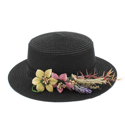 Women Straw Boater Hat Summer Beach Sun Sailor Ladies Bowler Cap Flower Ribbon 3](Plastic Bowler Hats)