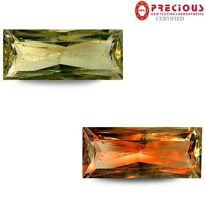 5.79 ct PGTL Certified  Rectangular (16 x 7 mm) Un-Heated Color Change Diaspore