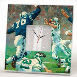 Football Players Wall Clock Mirror Retro American Sport Fan Art Room Decor Gift
