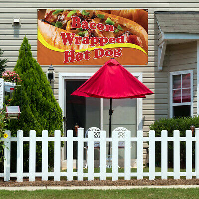 Vinyl Banner Sign Bacon Wrapped Hot Dog Sandwich Marketing Advertising -