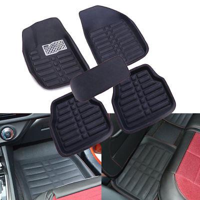 5x Universal Black Car Floor Mats FloorLiner FrontRear Carpet All Weather Mat