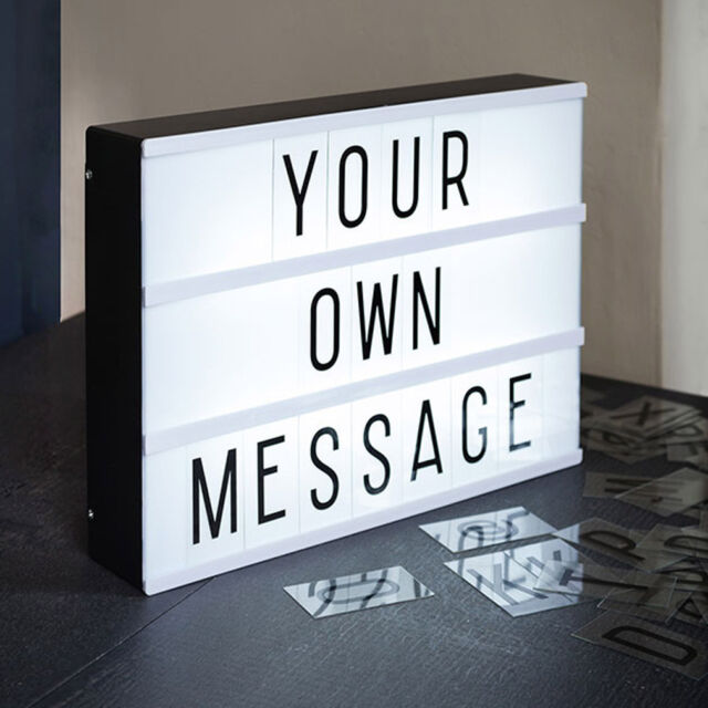 Cinema Light Box Lightbox Light Gift Lamp Customisable Retro A4