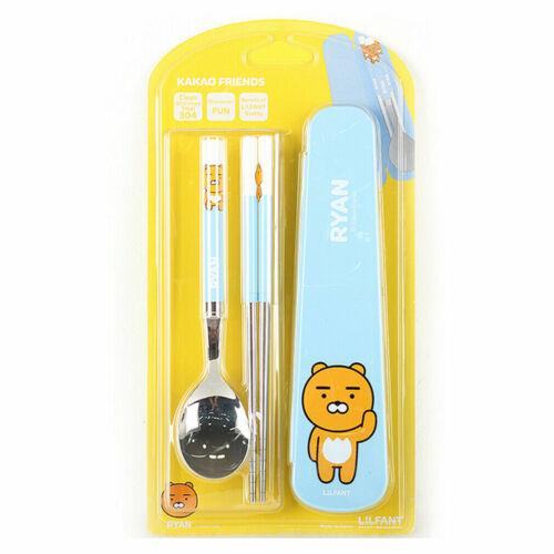 Kakao Friends Ryan  Junior Stainless Steel Spoon Chopsticks Case Set Blue