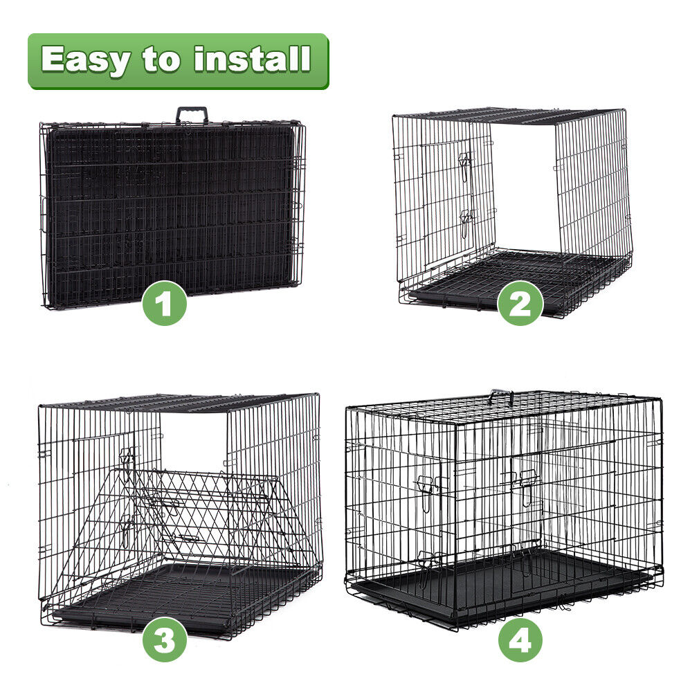 New Dog Crate Cage Extra Folding Large Double Door Pet Crate w/Divider&Tray,48″ Cages & Crates