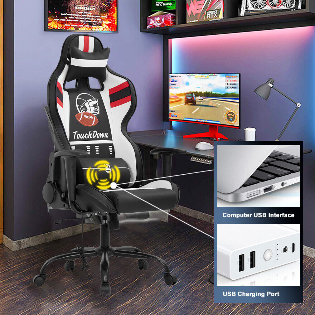 Gaming Chair Massage Office Chair Racing Computer Chair with Lumbar Support Head Business & Industrial