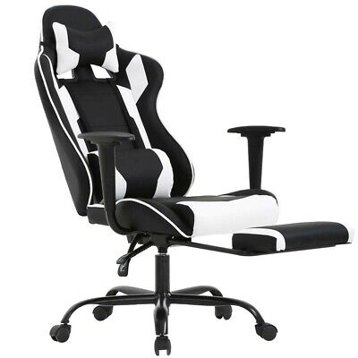 Pc Racing Chair Best Ergonomic Office Swivel W Headrest Lumbar Support (Best Office Chair With Footrest)