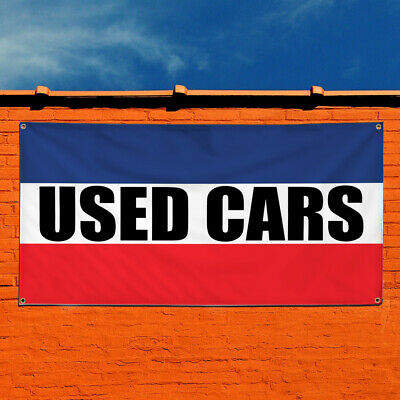 Vinyl Banner Sign Used Cars Auto Car Vehicle Outdoor Marketing Advertising Blue