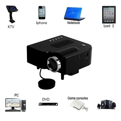 Portable Mini LED 3D Projector Cinema Theater PC VGA USB SD AV Input HDMI 1080P