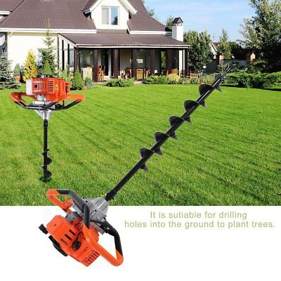 52cc 2.5hp Auger Post Hole Digger Gas Powered Auger Fence Ground Drill3 Bi Cf