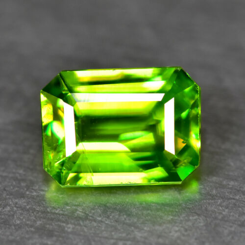 1.40CT MASTER EMERALD CUT FINE CLARITY UNHEATED GREEN TITANITE SPHENE