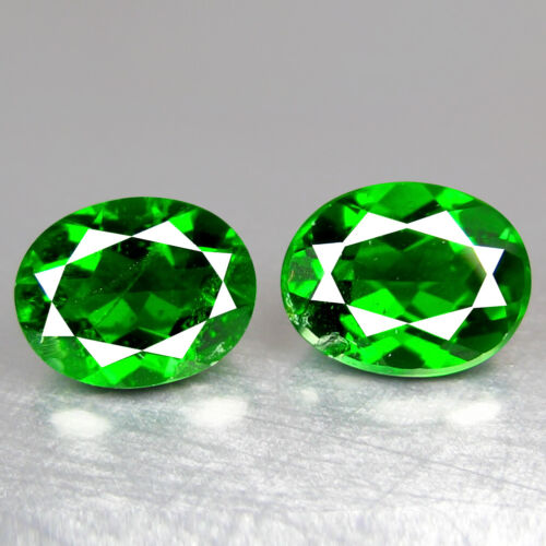 2.88CT 8x6MM OVAL PAIR, OUTSTANDING OPEN TRANSPARENT UNHEATED CHROME DIOPSIDE
