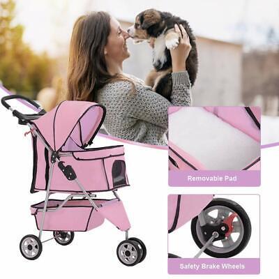 New Pink Pet Stroller Cat Dog Cage 3 Wheels Stroller Travel Folding Carrier 13T Dog Supplies