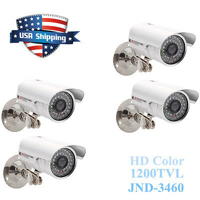 4X 1200TVL HD Color Outdoor CCTV Surveillance Camera 36 IR Day Night Video White