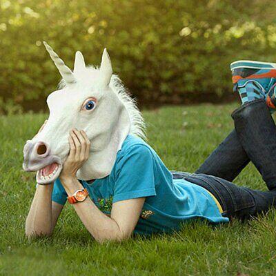 Latex Einhorn Maske Unicorn für Halloween Weihnachten Tiermaske Pferdekopf XM