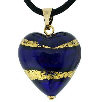 GlassOfVenice Murano Glass Heart Pendant - Blue and Gold