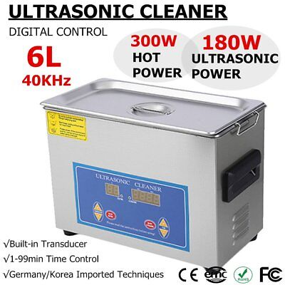 6l Industry Digital Ultrasonic Cleaner Heater Timer Stainless Jewel Clean Tank H