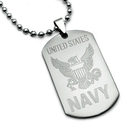 U S  Navy Logo With Psalm 23 4 Inscription Stainless Steel Dog Tag Necklace