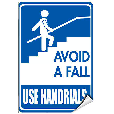 Avoid A Fall Use Handrails Hazard Sign LABEL DECAL STICKER