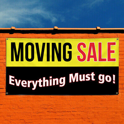 Vinyl Banner Sign Moving Sale Everything Must Go Marketing Advertising Black
