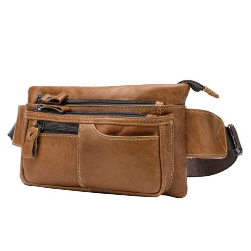 Men Vintage Leather Fanny Pack Waist Bag Hip Bum Belt Slim Phone Wallet Pouch