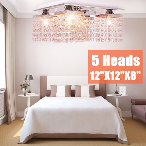 "5 Heads 12"" Crystal Chandelier Lamp Modern Flush Mount Ceili"