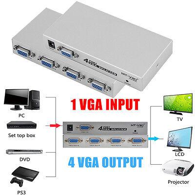 4-Port VGA SVGA LCD Video Splitter Box+AC Adapter for PC Laptop Computer New BP