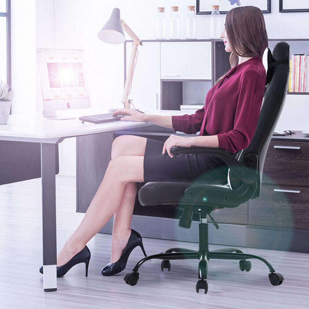 PC Gaming Chair Massage Office Chair Racing Chair W/ Lumbar Headrest Armrest Chairs