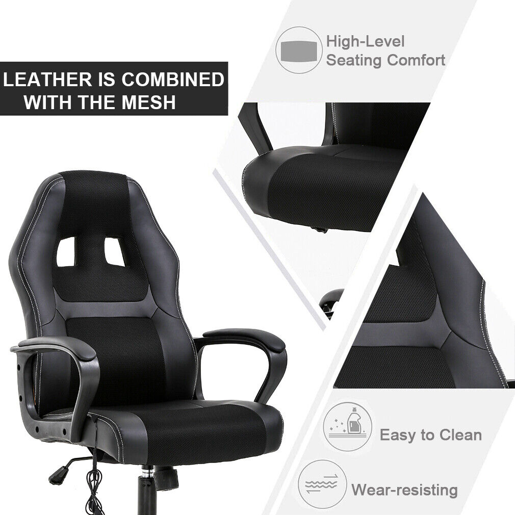 PC Gaming Chair Massage Office Chair Ergonomic Desk Chair Adjustable PU Leather Business & Industrial