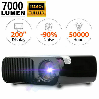 7000 Lumens Full HD 1080P Projector HDMI USB VGA Portable Home Theater Black