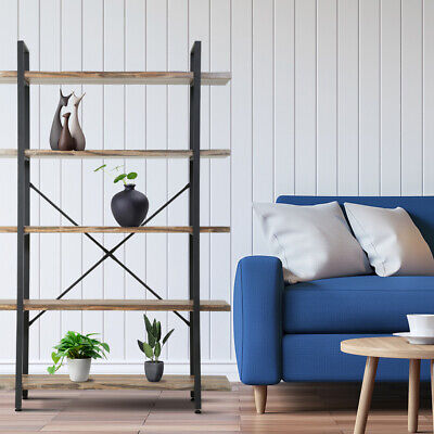 5-Tier Solid wood bookcase industrial Rustic Vintage Open Storage Bookshelf With Bookcases & Shelving
