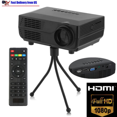 Mini HD LED Multimedia Projector VGA USB AV HDMI DVD Home Cinema Theater