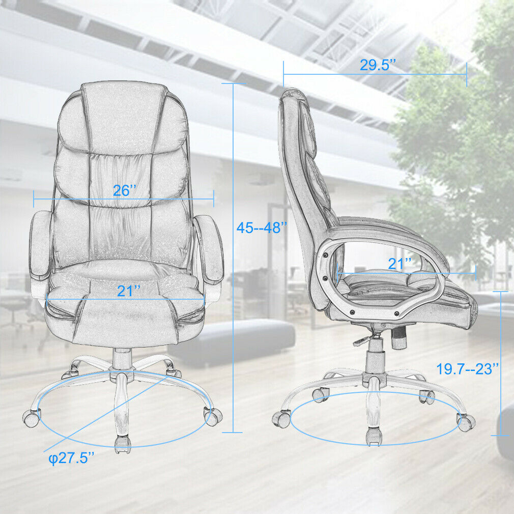 Home Office Chair Massage Desk Chair with Lumbar Support Headrest Armrest Chairs