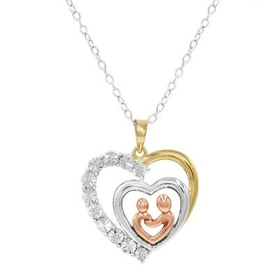 14K Gold over Sterling Silver Mother and Child Diamond Heart Pendant- Necklace
