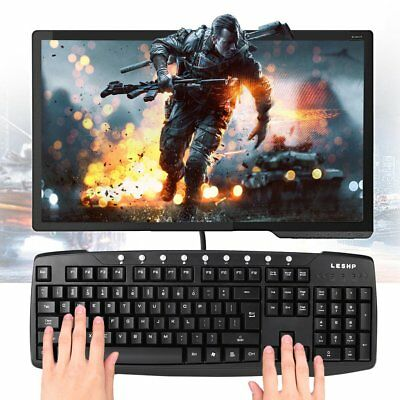 LESHP USB Wired Multimedia PC Keyboard For Computer Desktop Laptop