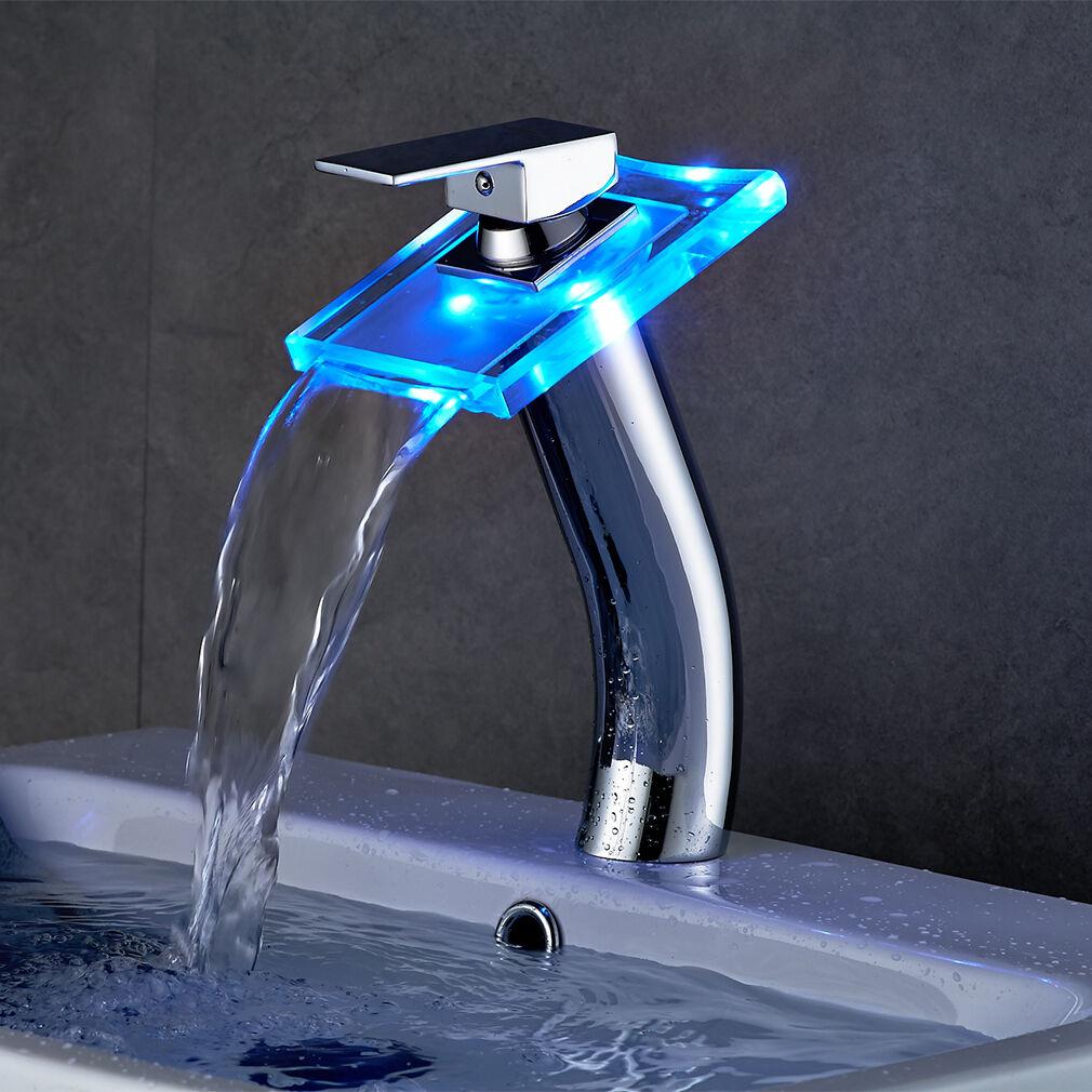 led glas wasserfall wasserhahn armatur einhandmischer badezimmer